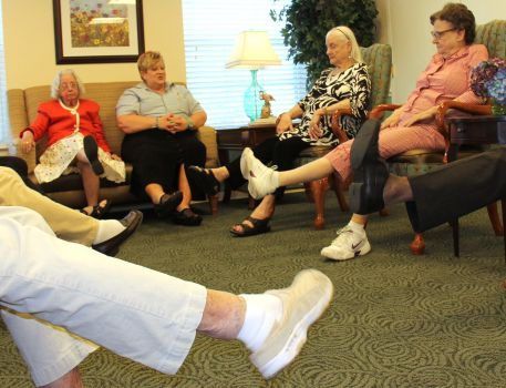 Belmont Village Residents exercise to fight Brain Drain