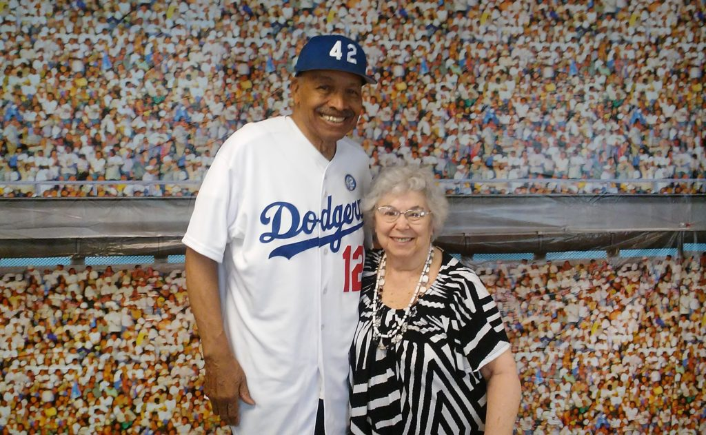 Marjem Goldstein (right) and former Dodgers player Tommy Davis