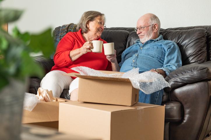 Senior Couple enjoying coffee