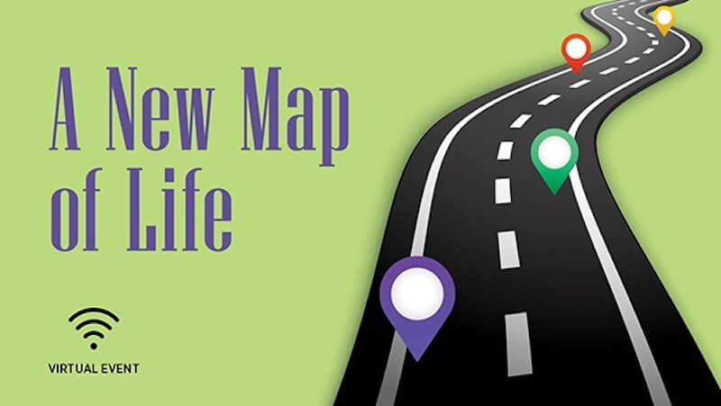 A New Map of Life text with black road and green background