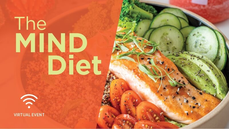 The MIND Diet Featured Image with text and dish with salmon and veggies