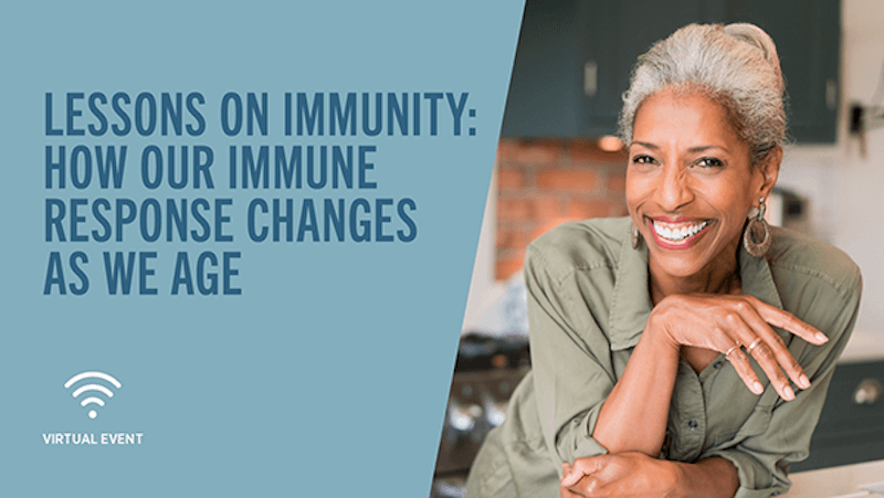 Lessons on Immunity text and image of female smiling