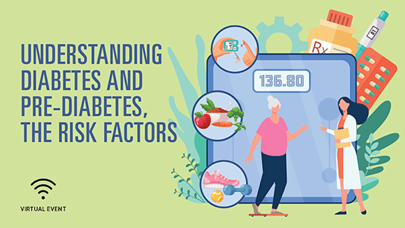 Understanding Diabetes text and illustration of women, scale, food, exercise equipment